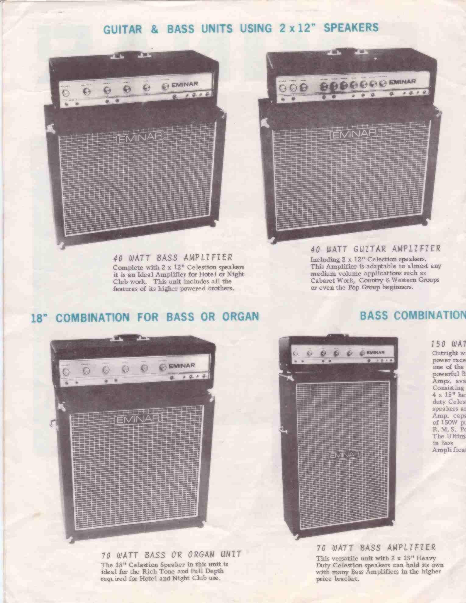 Eminar 60w Bass Amplifier Catalogue Page 1 132kb